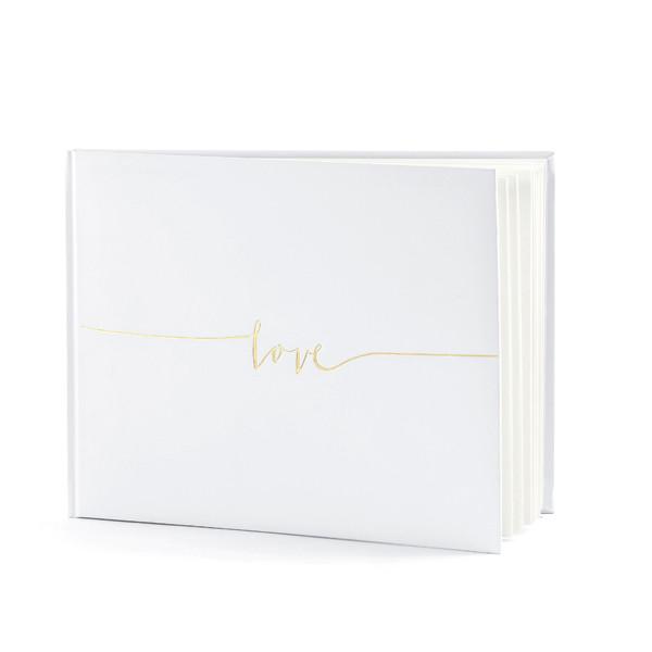 Gästebuch 'Love' weiß & gold