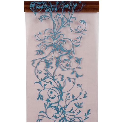 Tischläufer 'Ornament' 28 cm x 5 m - braun & türkis