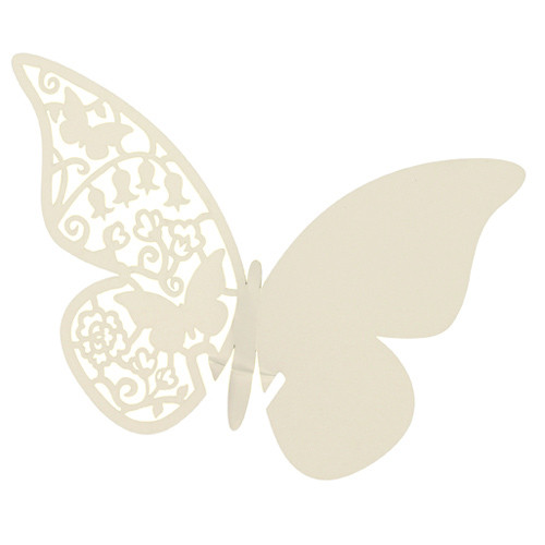 Tischkärtchen für Gläser 'Schmetterling' (10 Stück) - creme