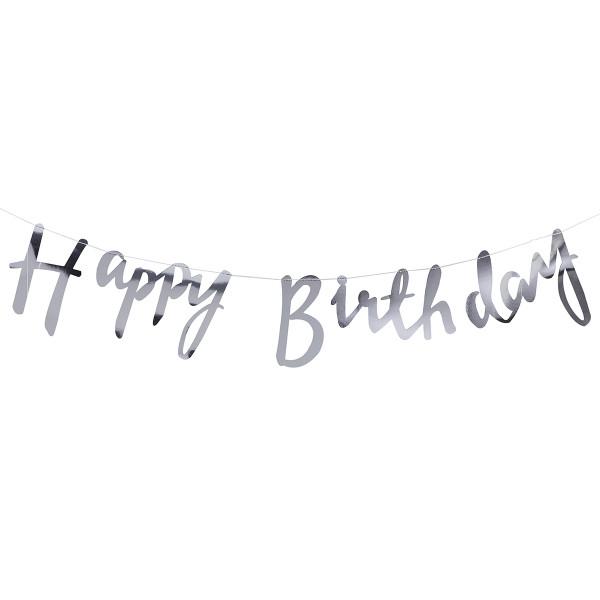 Girlande Happy Birthday - silber