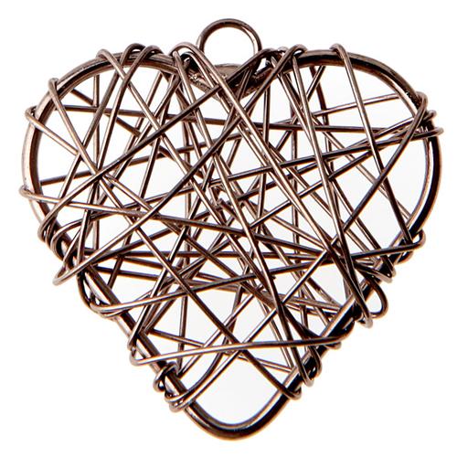 Anhänger 'Herzen' (6 Stück) - braun