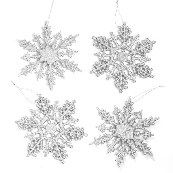 Hänger Eiskristalle Schneeflocke (4 Stück) - Silber