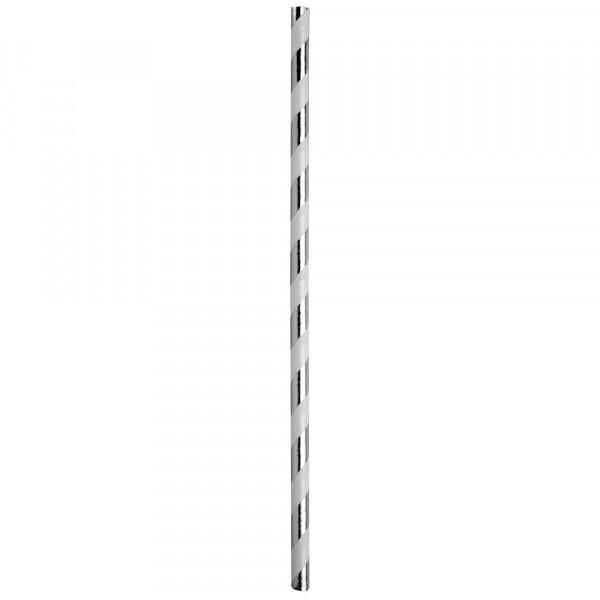 Strohhalme / Trinkhalme 'Streifen' (20 Stück) - silber metallic