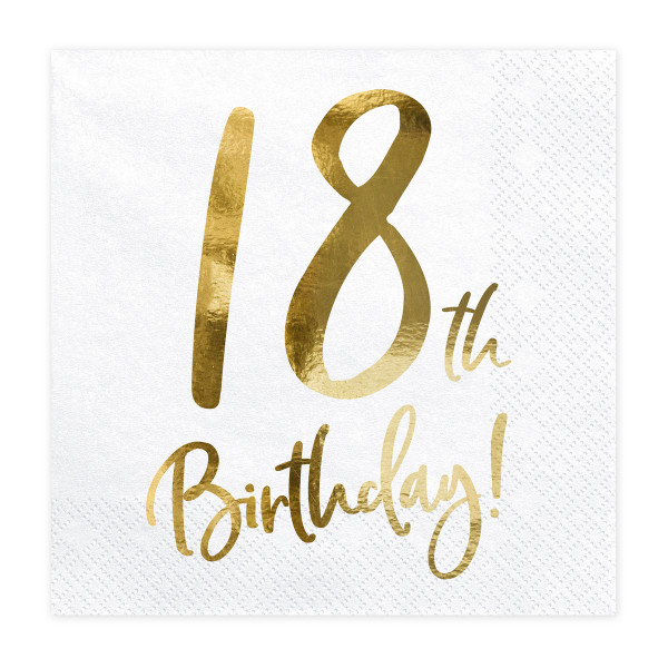 Servietten '18th Birthday' (20 Stück) weiß & gold