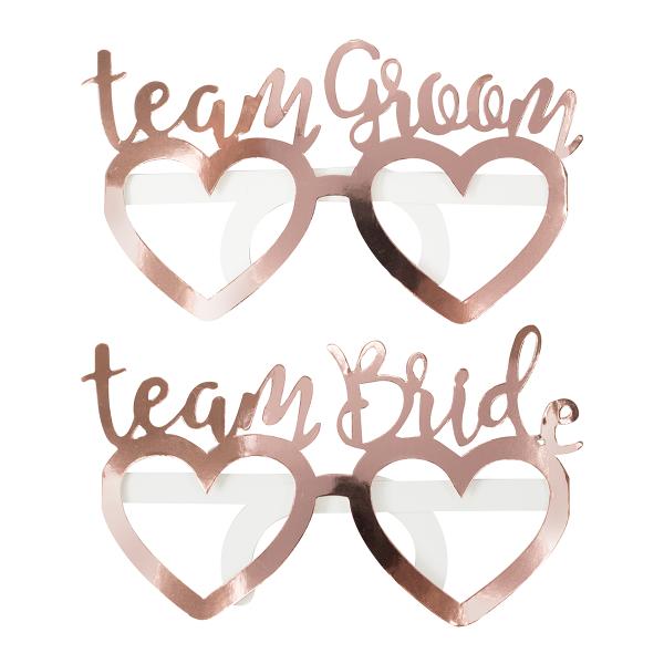 Brillen Team Bride / Team Groom (8 Stück) - roségold