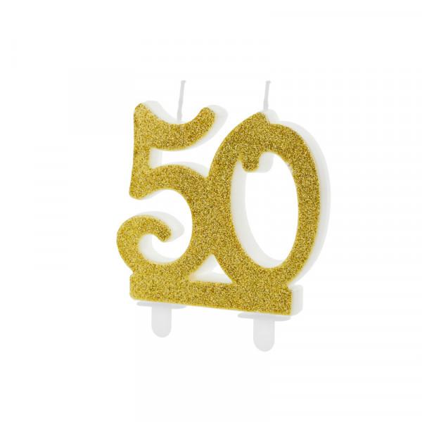Geburtstagskerze / Kerze '50' - gold