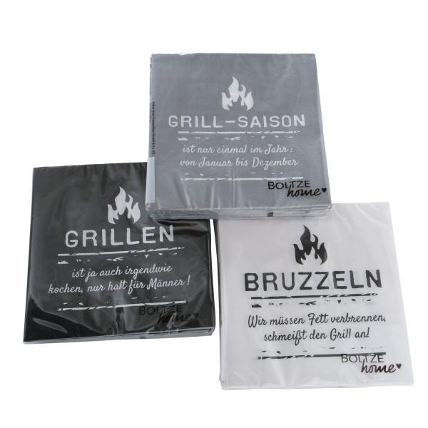 3 x 20 Servietten 'Grill-Saison' - schwarz, grau, weiß