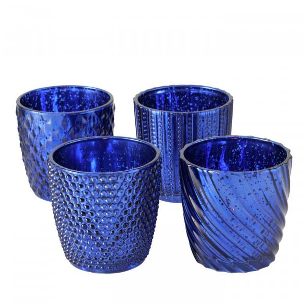 4 x Windlicht Matia blau metallic, Höhe 9 cm