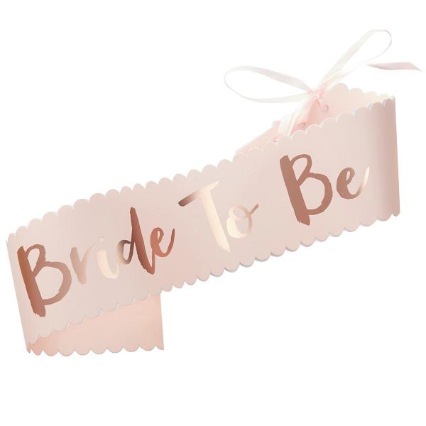 Team Bride 'Bride to be' Schärpe - rosa & roségold