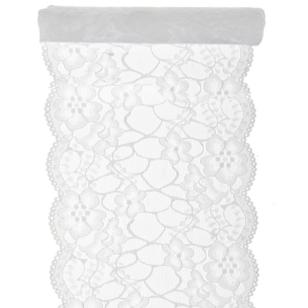 Tischläufer Zarte Spitze 18 cm x 3 m - weiß