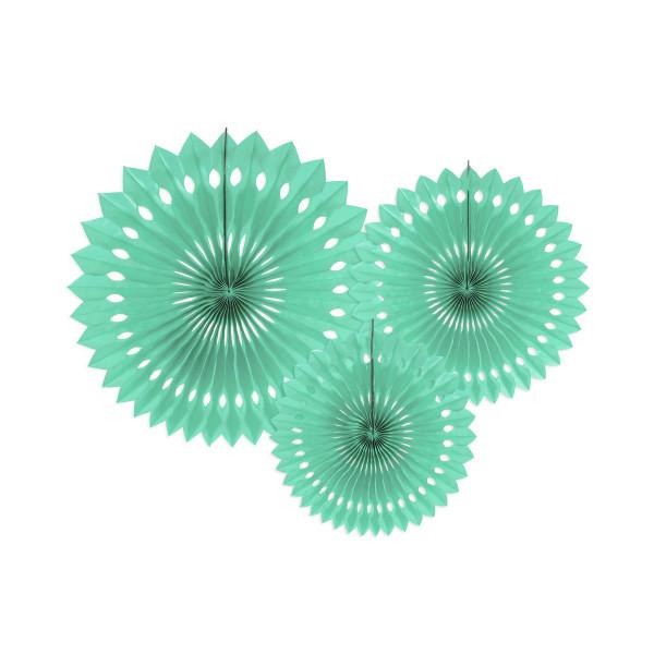 Dekofächer / Dekorosetten 3-teilig - mint