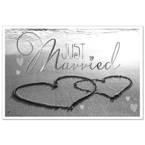 Hochzeit Glückwunschkarte 'Herzen am Strand' mit Silber-Prägung