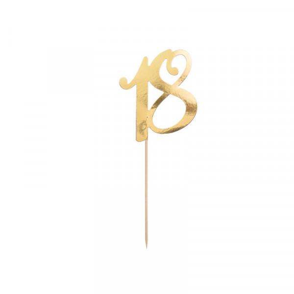 Tortenstecker '18' 18. Geburtstag - gold