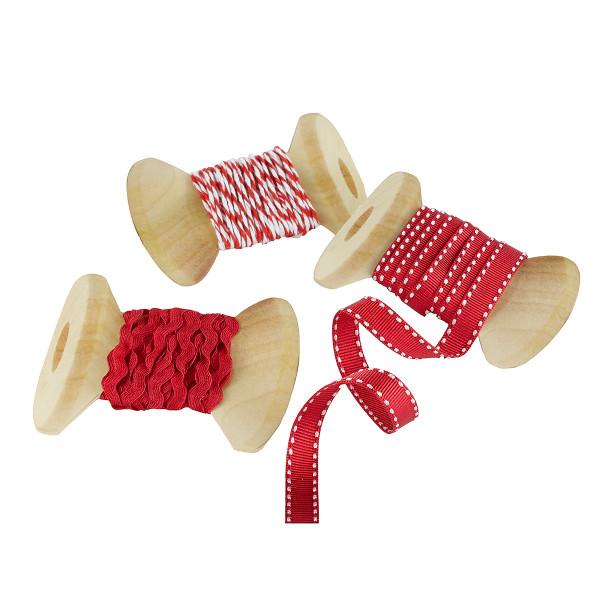 Geschenk Bänder 'Vintage Weihnachten' 3 Stück - rot & weiß