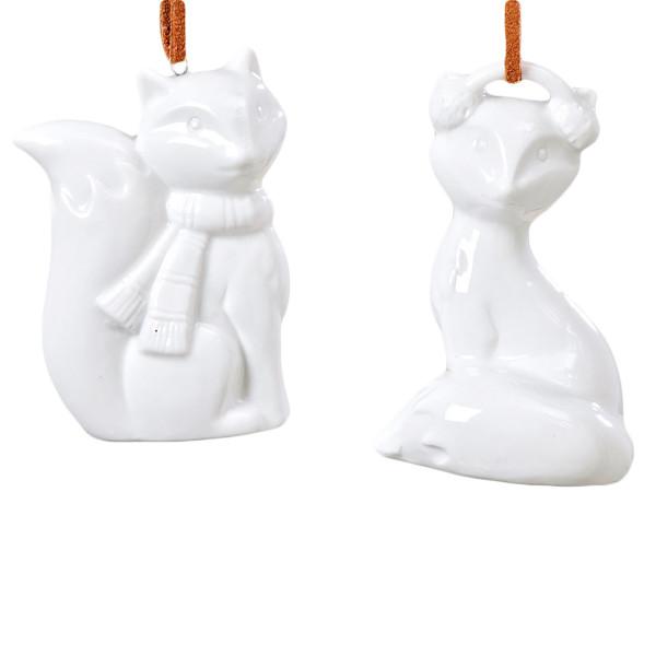 Hänger Fuchs Porzellan H7cm (2 Stück) - weiß