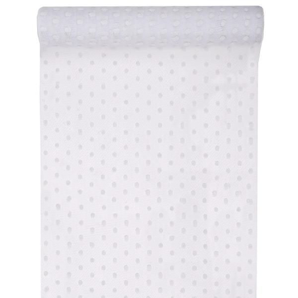 Tischläufer transparent mit Punkten 30 cm x 5 m - weiß