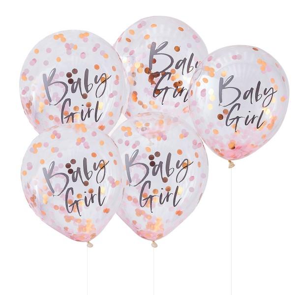 Konfetti Luftballons 'Baby Girl' 5 Stück rosa