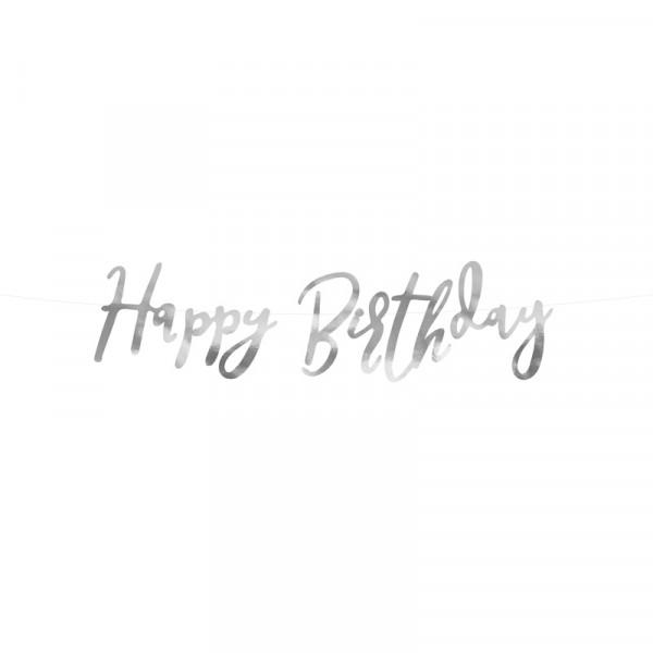 Girlande Happy Birthday 62 cm - silber