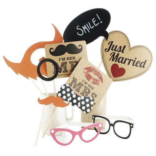 Photo Booth Set 10 tlg. Vintage 'Mr & Mrs'