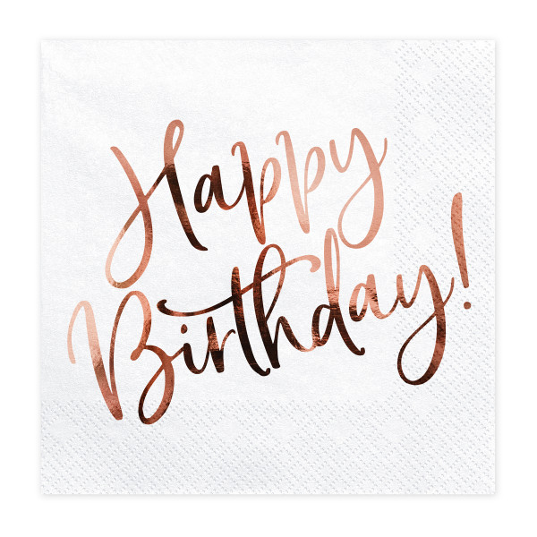 Servietten Happy Birthday (20 Stück) weiß & roségold