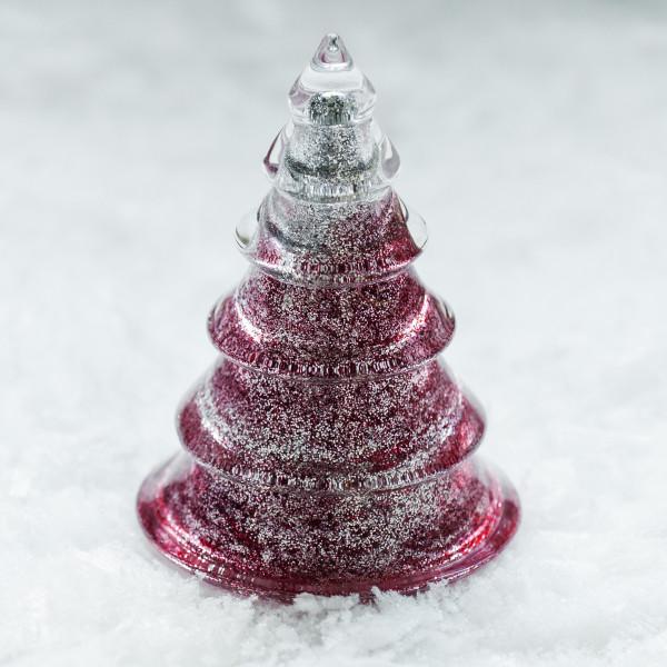 Glasbaum 'Mica' mit Silberglitter groß - rot