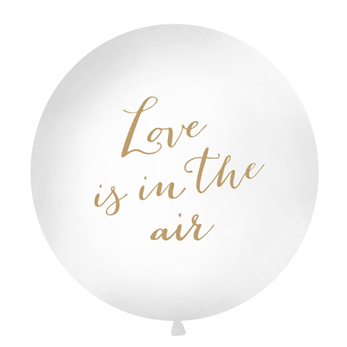 Jumbo Ballon 'Love is in the air' 100 cm - weiß & gold