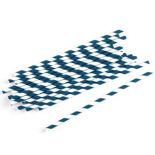 Strohhalme / Trinkhalme gestreift (75 Stück) - dunkelblau