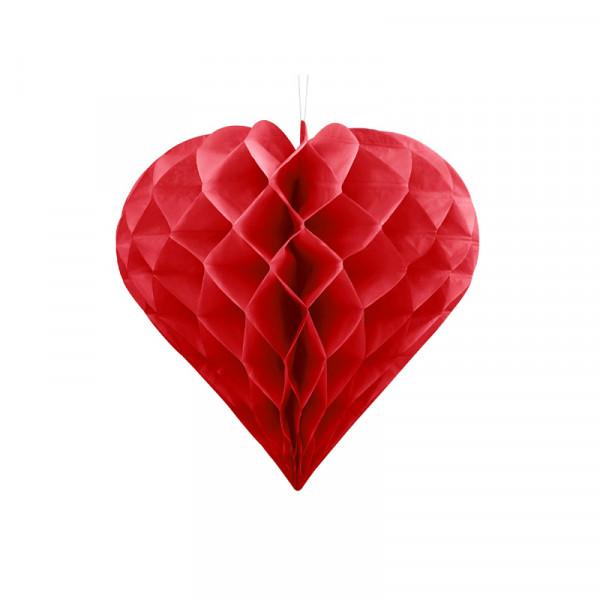 Herz Honeycomb / Wabenball Rot 30 cm