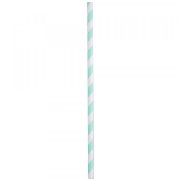 Strohhalme / Trinkhalme 'Streifen' (20 Stück) - mint
