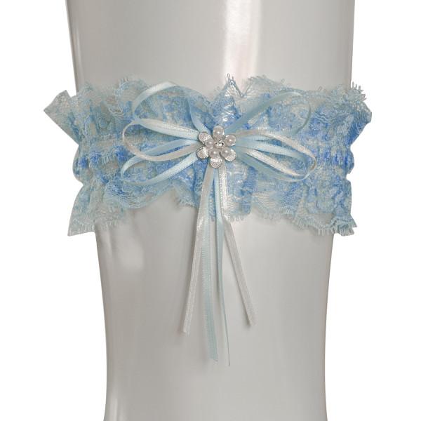 Strumpfband Perlenblüte - hellblau