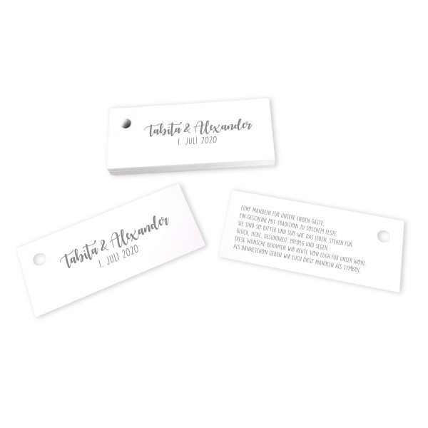28 Kärtchen Hochzeit personalisiert 7,5 x 3 cm