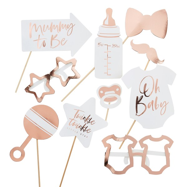 Roségold Baby Photo Booth Set 10 tlg.