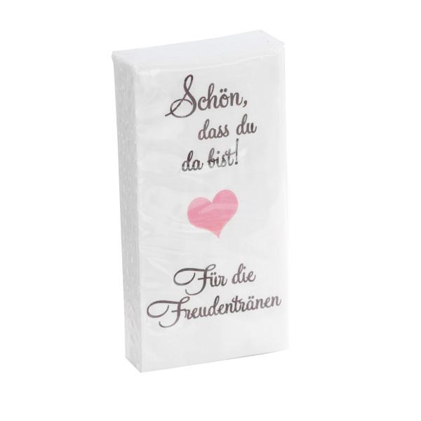 Taschentücher Schön, dass du da bist - Für die Freudentränen taupe & rosa 10 Stück
