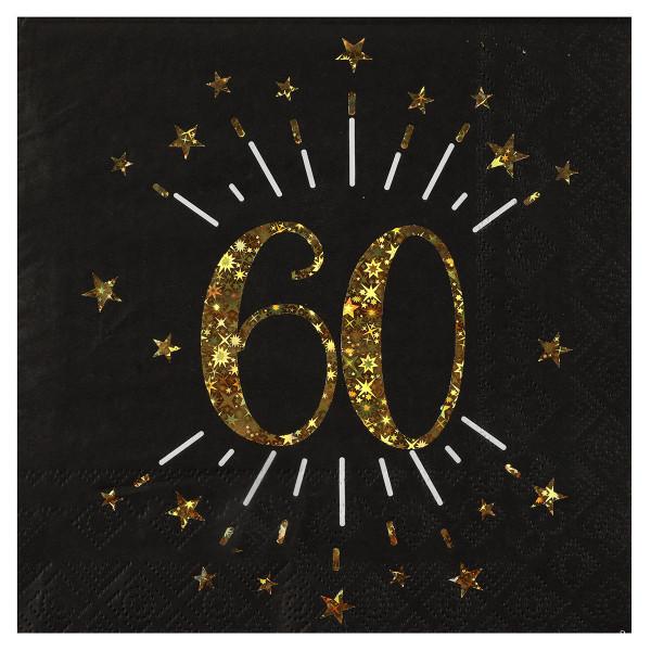 Servietten 60. Geburtstag - schwarz & gold