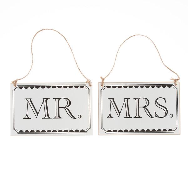 Vintage Stuhlschilder 'Mr. & Mrs.'
