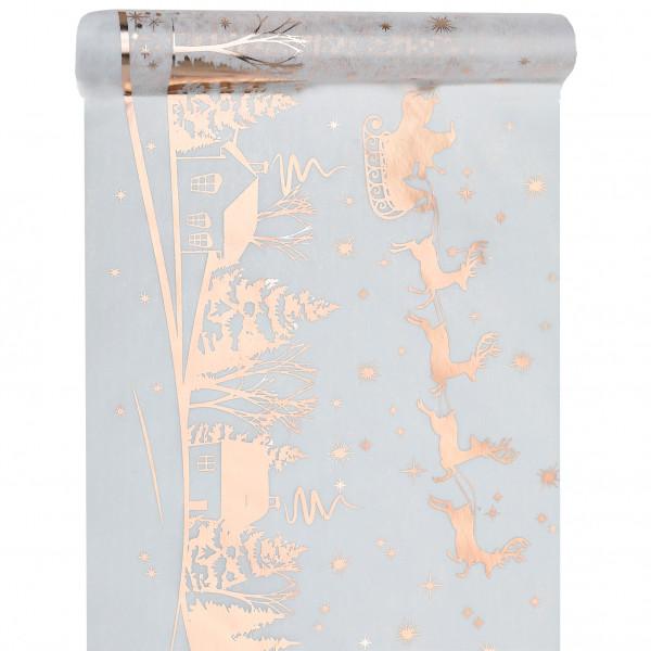 Tischläufer 'Weihnachtsschlitten' 30 cm x 5 m - weiß & roségold