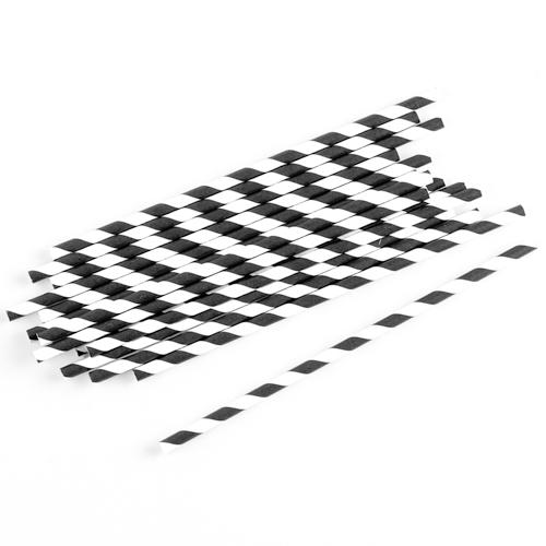 Strohhalme / Trinkhalme gestreift (75 Stück) - schwarz