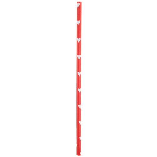 Strohhalme / Trinkhalme weiße Herzen (20 Stück) - rot