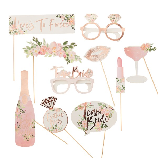 Floral Party Team Bride Photo Booth Set 10 tlg.