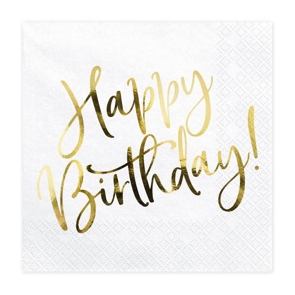 Servietten Happy Birthday (20 Stück) weiß & gold