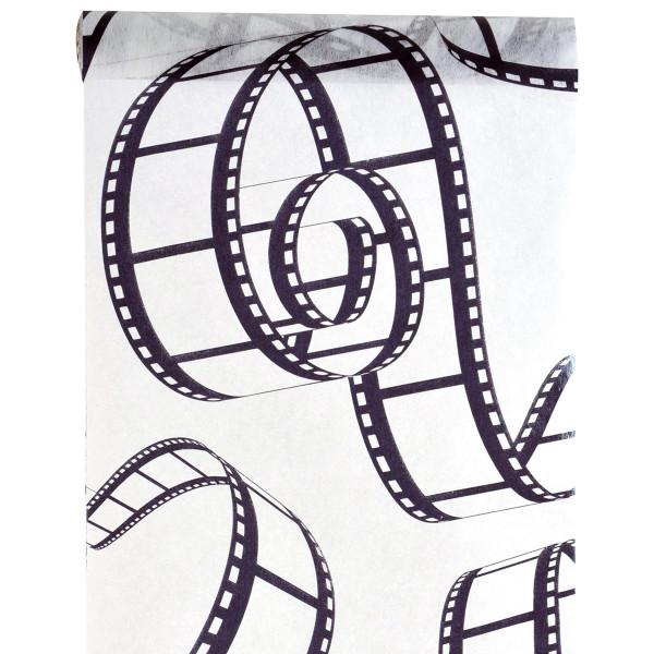 Tischläufer Cinema / Film 30 cm x 5 m - weiß & schwarz