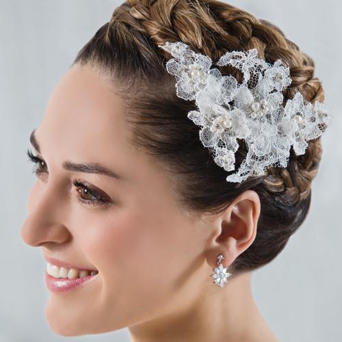 Gesteck Spitzenblüten an Clip mit Perlen & Strass