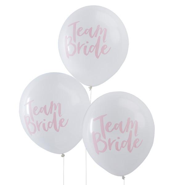 Team Bride Luftballons (10 Stück) - weiß & rosa