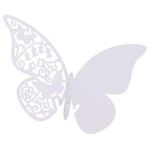 Tischkärtchen für Gläser 'Schmetterling' (10 Stück) - weiß