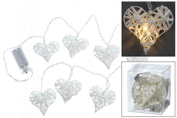Lichterkette Herz 8 LEDs L140 cm - weiß