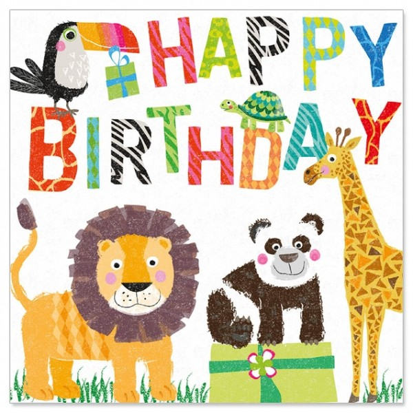 Serviette 'Zootiere' Happy Birthday 20 Stück 33 x 33 cm
