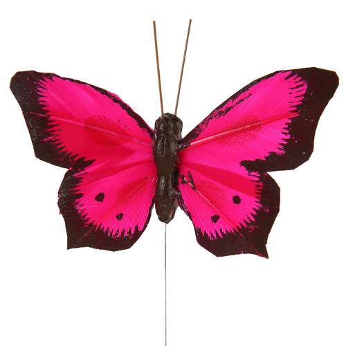 Schmetterlinge mit Draht (6 Stück) - pink