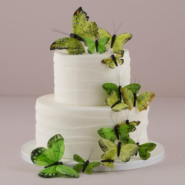 Tortendekoration Schmetterlinge (24 Stück) - grün
