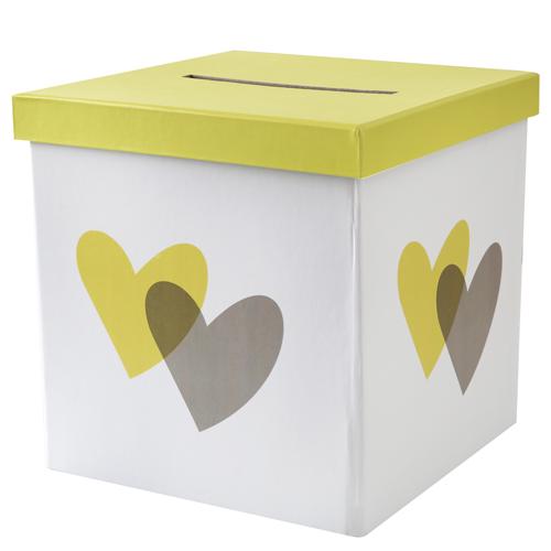 Briefbox / Geschenkbox 'Herzen' 20 x 20 cm - gelb