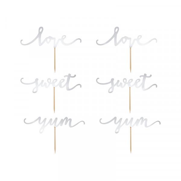 Cupcake Topper 'Sweet, Love & Yum' (6 Stück) - silber